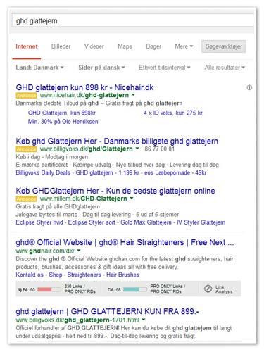 en google søgning på søgeordet GHD glattejern